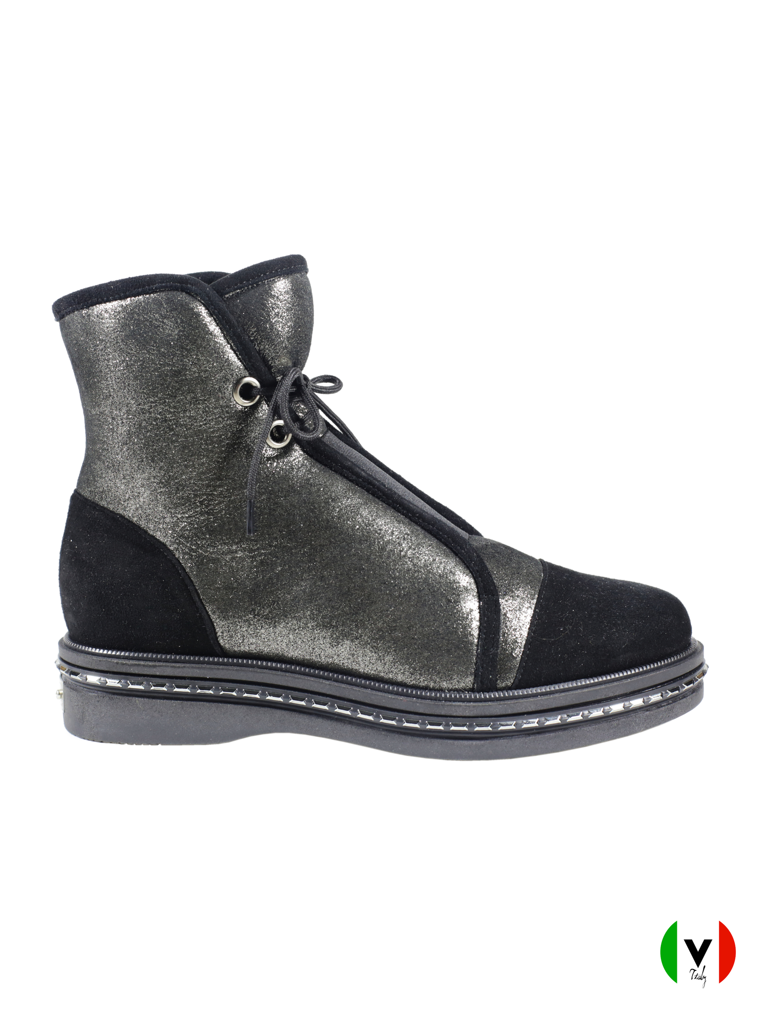 Зимние ботинки Mara чёрно-зотистого цвета 651, артикул 651, сезон зима, цвет чёрно-золотистый, материал замша, цена 18 500 руб., veroitaly.ru