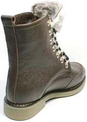 Коричневые ботинки на шнурках женские зимние Studio27 576c Broun.