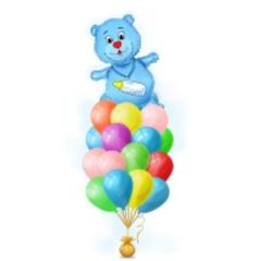 Букет шариков с медведем для малчьика