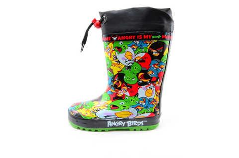 Резиновые сапоги для мальчиков утепленные Энгри Бердс (Angry Birds), цвет черный. Изображение 3 из 11.