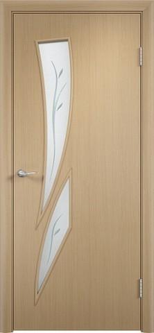 Дверь Сибирь Профиль Стрелиция (С-2ф) фьюзинг, фьюзинг, цвет беленый дуб, остекленная
