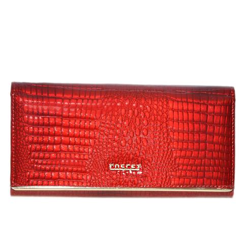 Кошелёк красный женский лаковый Coscet нат.кожа CS18-01A