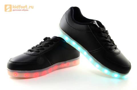 Светящиеся кроссовки с USB зарядкой Fashion (Фэшн) на шнурках, цвет черный, светится вся подошва. Изображение 14 из 27.