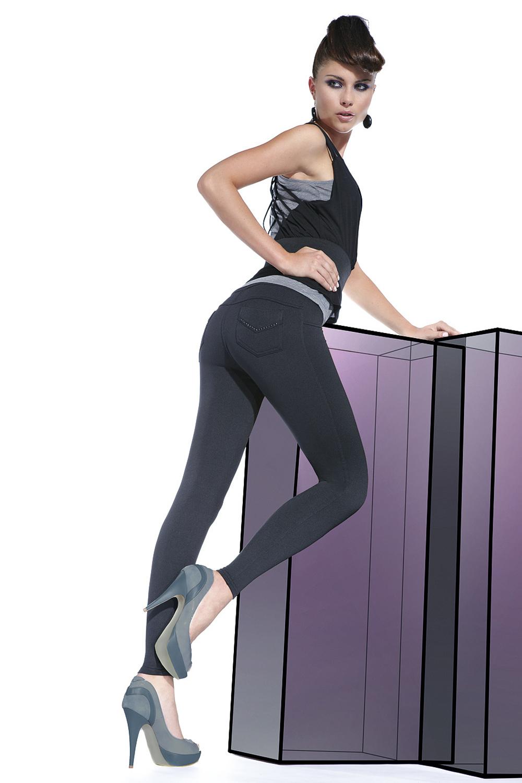 Легинсы фантазийные черные «под джинсы» (Легинсы)