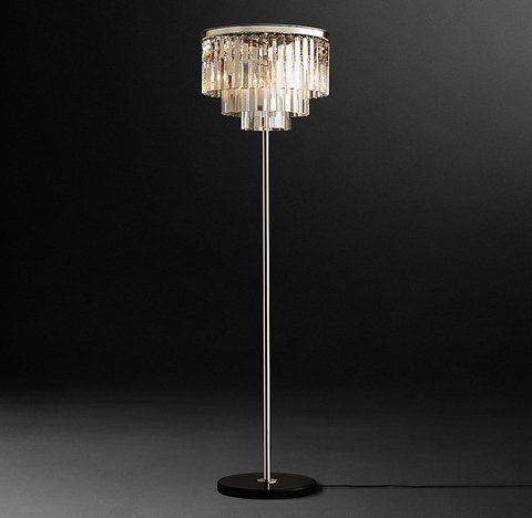 1920s Odeon Clear Glass Fringe Floor Lamp 72