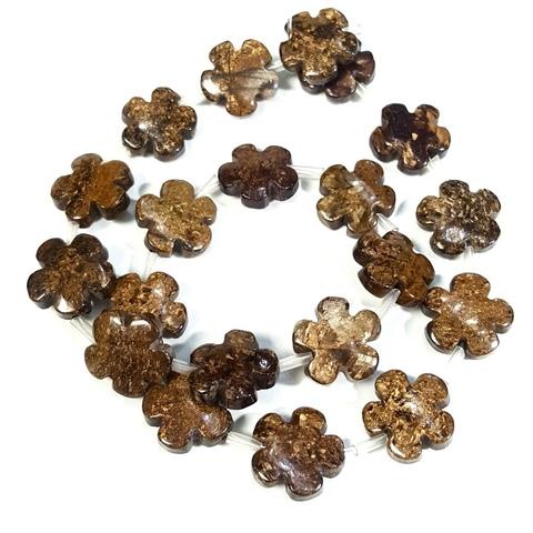 Бусины бронзит Цветочек 15 мм 1 бусина