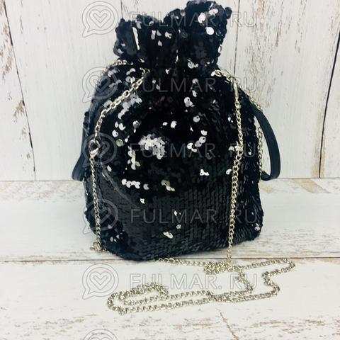 Сумка-мешок с пайетками меняющая цвет Чёрно-Серебристый