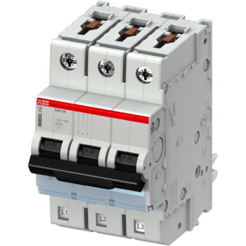 Автоматический выключатель 3-полюсный 8 А, тип B, 10 кА S403M-B8. ABB. 2CCS573001R0085