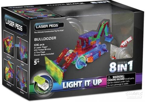 Конструктор Laser Pegs «Энергоблок Бульдозер» 8 в 1 (PB1420B)
