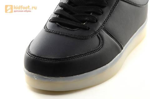 Светящиеся кроссовки с USB зарядкой Fashion (Фэшн) на шнурках, цвет черный, светится вся подошва. Изображение 18 из 27.