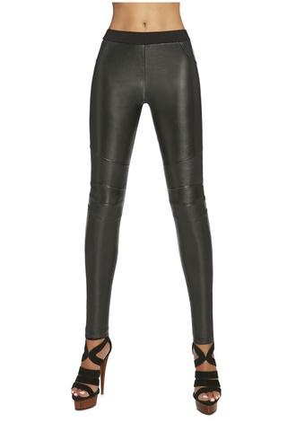 Легинсы фантазийные черные из вискозы с кожаными вставками