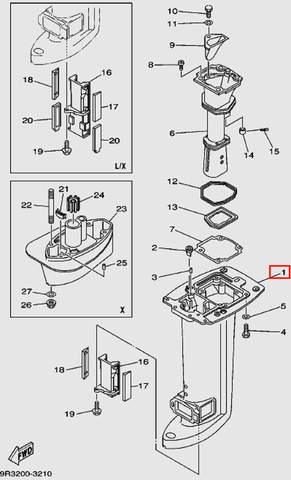 Корпус дейдвуда для лодочного мотора Т30 Sea-PRO (16-1)