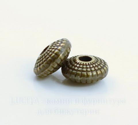 """Бусина металлическая - рондель """"Лучистая"""" 8х4 мм (цвет - античная бронза), 10 штук"""