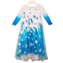 Платье Эльзы Холодное Сердце с синими манжетами