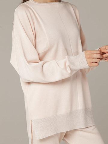 Розовый джемпер из шёлка и кашемира, с квадратной линией проймы - фото 3