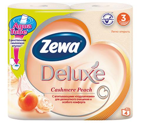 Туалетная бумага Zewa Deluxe персик 3-х слойная 4 шт