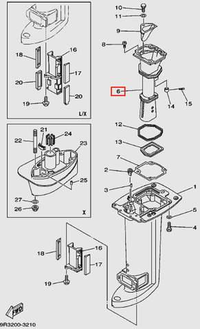 Коллектор выхлопа для лодочного мотора Т30 Sea-PRO (16-6)
