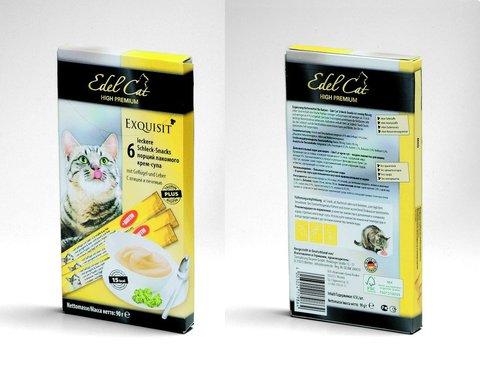 Лакомство Edel Cat крем-суп с птицей и печенью для взрослых кошек