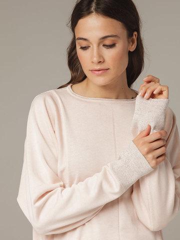 Розовый джемпер из шёлка и кашемира, с квадратной линией проймы - фото 5