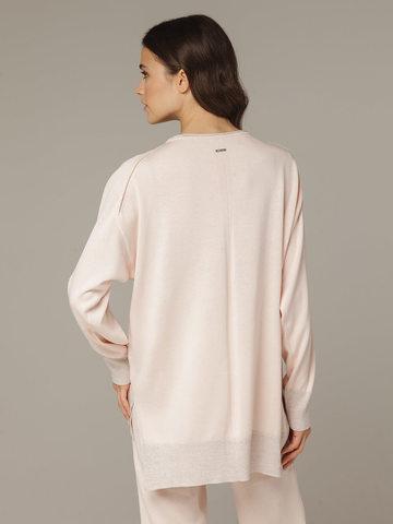 Розовый джемпер из шёлка и кашемира, с квадратной линией проймы - фото 2