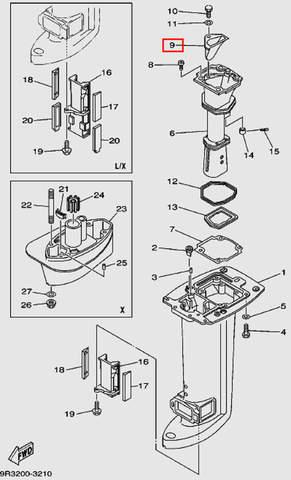 Коллектор выхлопа для лодочного мотора Т30 Sea-PRO (16-9)