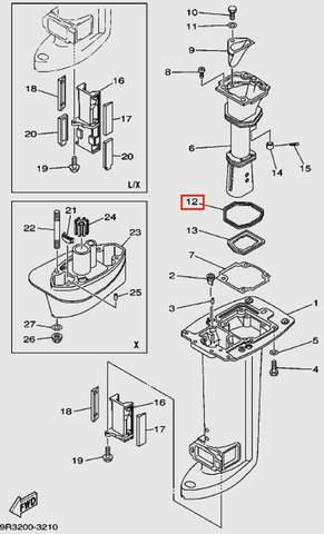 Прокладка глушителя для лодочного мотора Т30 Sea-PRO (16-12)