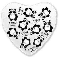 Шарик из фольги Сердце Панда Я тебя люблю