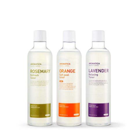 Слабокислотные безалкогольные тонеры / Aromatica Rosemary Refresh / Orange Soft Peel / Lavender Relaxing Toner