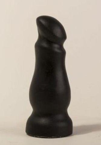 Чёрный массажёр простаты с приплюснутой головкой - 13 см.