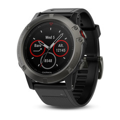 Умные мужские спортивные часы Garmin Fenix 5X Sapphire - серые с черным ремешком 010-01733-01