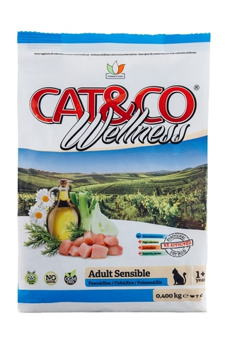 Корм для кошек Adragna Cat&Co Wellness Adult Sensible Fish and Rice (10 кг)