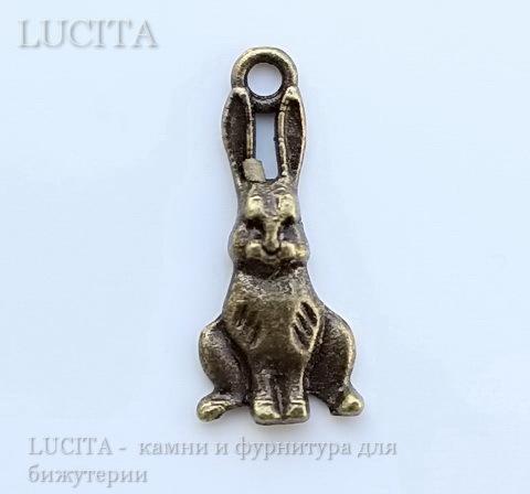 """Подвеска """"Зайчик"""" (цвет - античная бронза) 25х10 мм"""