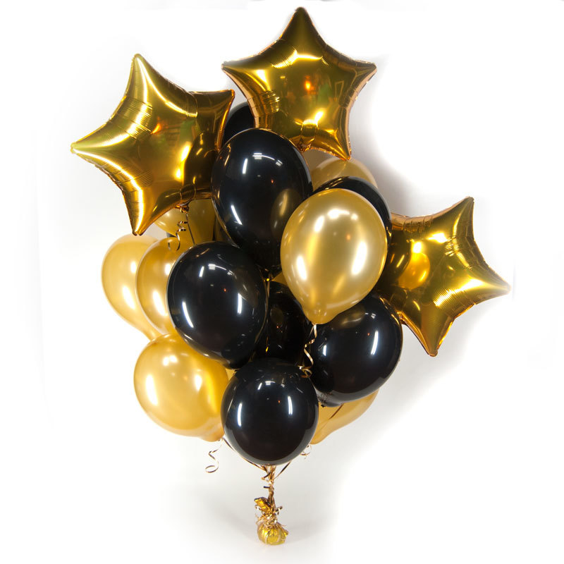Букет из черных и золотых шаров со звездами
