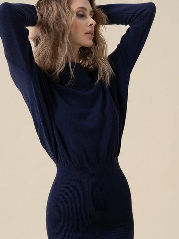 Женское платье темно-синего цвета из 100% кашемира - фото 3