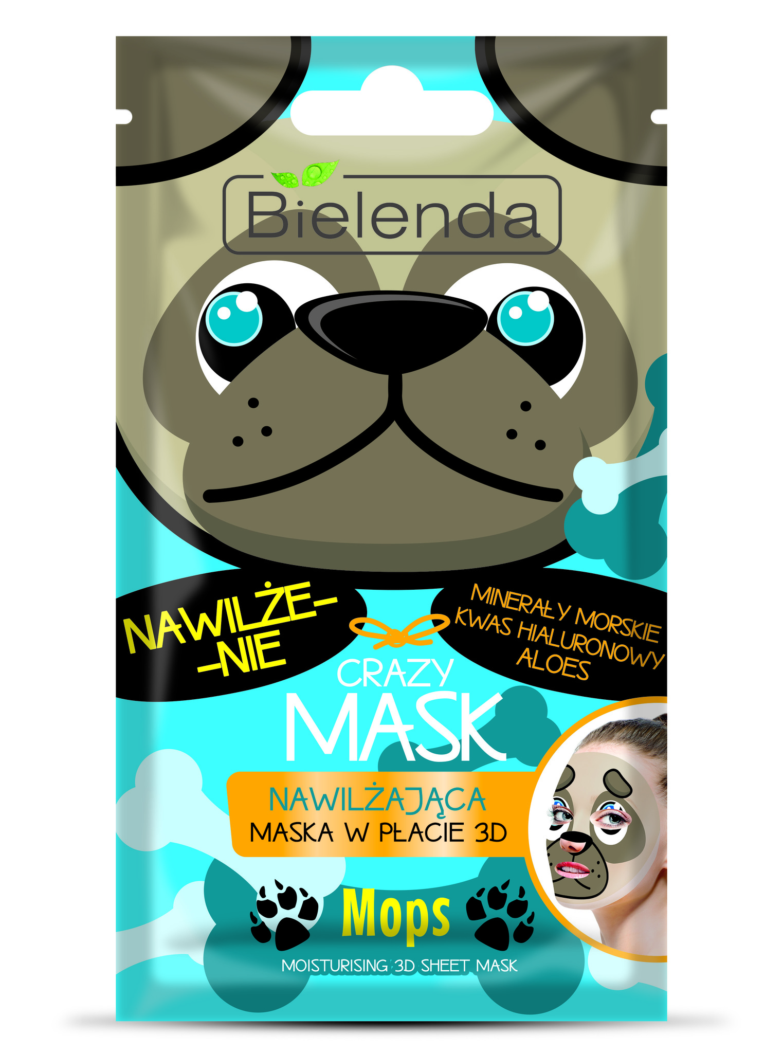 CRAZY MASK Увлажняющая тканевая маска Мопс, 1 шт