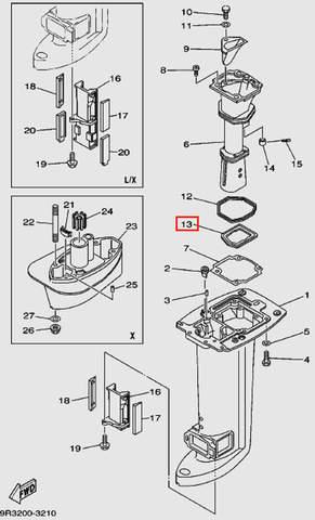Прокладка глушителя для лодочного мотора Т30 Sea-PRO (16-13)