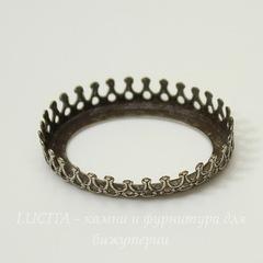 Сеттинг - основа с зубчатым краем для камеи или кабошона 25х18 мм (оксид серебра)