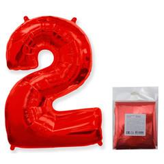 F Цифра, 2 Красный, 40''/102 см, 1 шт. в упаковке
