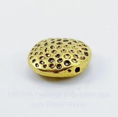 Бусина металлическая круглая плоская 17х6 мм (цвет - античное золото)