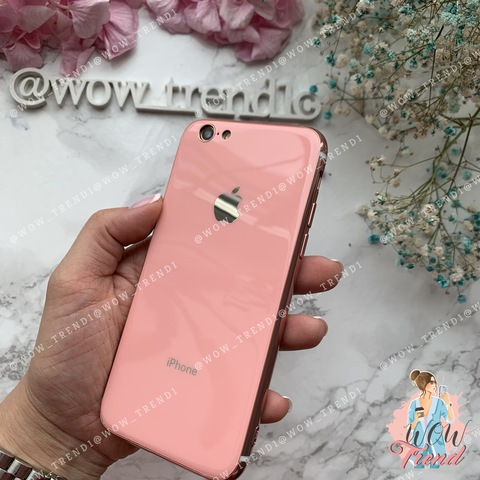 Чехол iPhone 6/6S Glass Silicone Case Logo /pink/