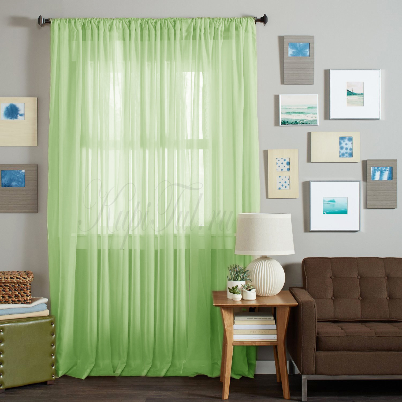Длинные шторы. Тюль Basica (микровуаль зеленый)