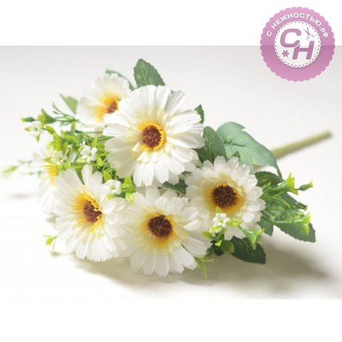 Искусственные цветы Герберы, букет 7 голов, 32 см.
