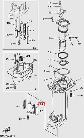 Направляющая пластина держателя кожуха для лодочного мотора Т30 Sea-PRO (16-16)