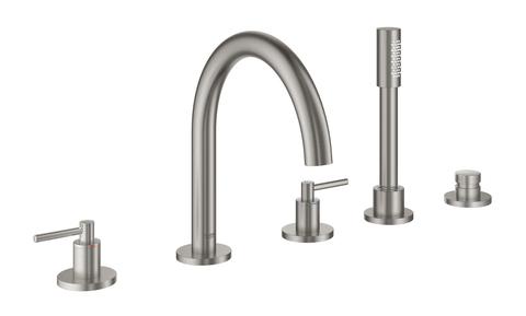Atrio New Комлект для ванны на 5 отверстий (смеситель двухвентильный, круглый излив, рукоятки-рычаги,  ручной душ, переключатель), СуперСталь