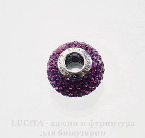 80101 Бусина Сваровски BeCharmed Pave Amethyst 14х9 мм (3)