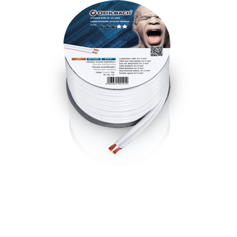 Oehlbach Speaker Cable 2x1,5mm white 500m, кабель акустический
