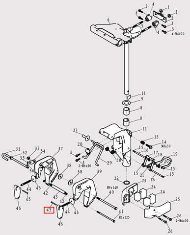 Фиксатор ручки зажима струбцины 4*24 для лодочного мотора F9.8 Sea-PRO (13-45)