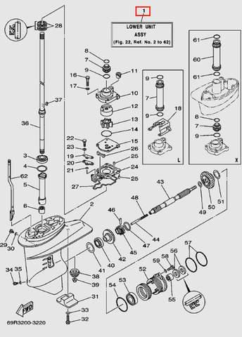 Редуктор в сборе для лодочного мотора Т30 Sea-PRO (17-1)
