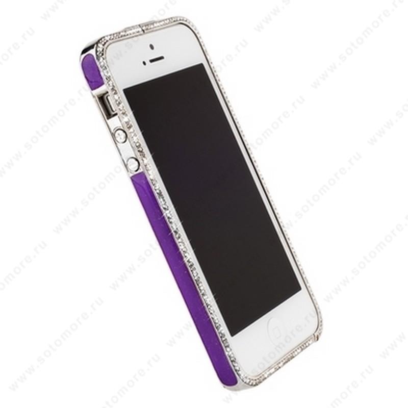 Бампер Newsh металлический для iPhone SE/ 5s/ 5C/ 5 со стразами фиолетовый