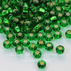 57120 Бисер 6/0 Preciosa прозрачный зеленый с серебряным квадратным центром